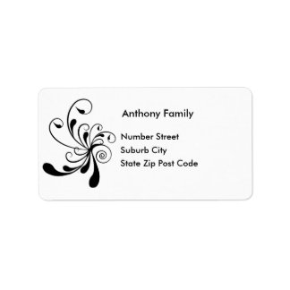 Label White with Black Floral Abstract