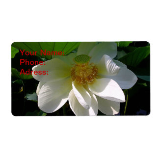 Label with delicate white Lotus Flower