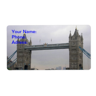 Label with Tower Bridge over the Thames River