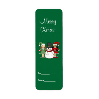 Label Xmas Gift Sticker Tags Christmas Small Size Return Address Label