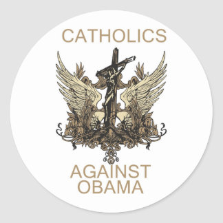 Labels-Catholics Against Obama Classic Round Sticker