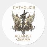 Labels-Catholics Against Obama Classic Round Sticker