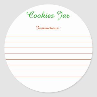 """Labels for instructions of """"Cookies Gravel bank """" Classic Round Sticker"""