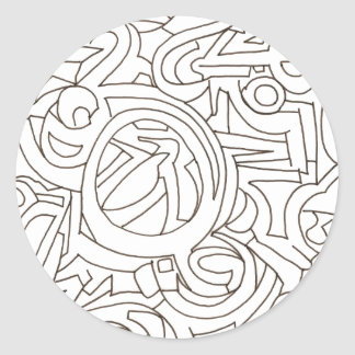 Laberinto - arte moderno blanco y negro pegatina redonda