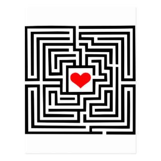 Laberinto - corazón tarjeta postal