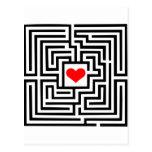 Laberinto - corazón tarjetas postales