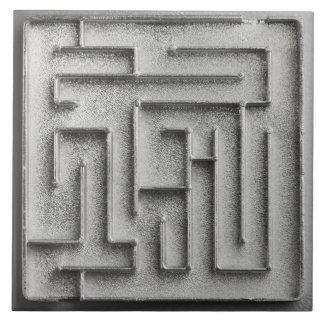Laberinto de plata azulejo cuadrado grande