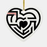 laberinto del amor adorno navideño de cerámica en forma de corazón
