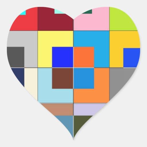 Laberinto del COLOR: Gráficos felices Pegatina En Forma De Corazón