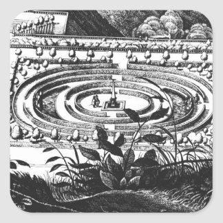 Laberinto en Heidelberg, Hortus Palatinus (engravi Pegatina Cuadrada