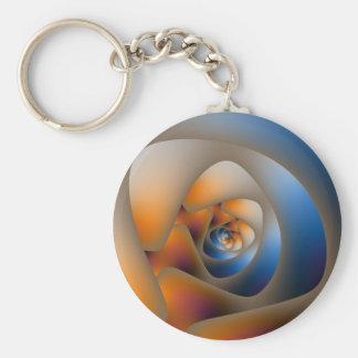 Laberinto espiral en azul y Doodle anaranjado Llavero Redondo Tipo Pin