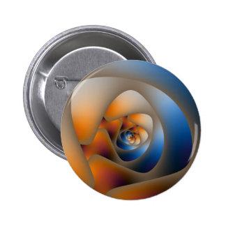 Laberinto espiral en azul y Doodle anaranjado Pin Redondo De 2 Pulgadas