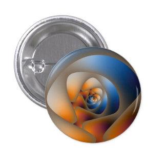 Laberinto espiral en botón azul y anaranjado pins