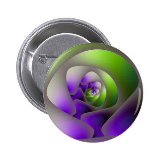 Laberinto espiral en botón verde y púrpura pin