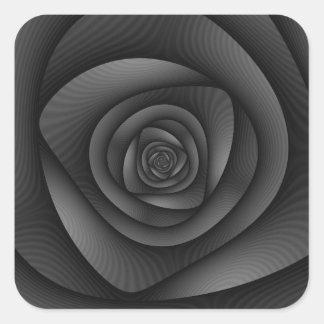 Laberinto espiral en monocromo pegatina cuadrada