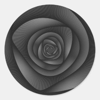 Laberinto espiral en monocromo pegatina redonda
