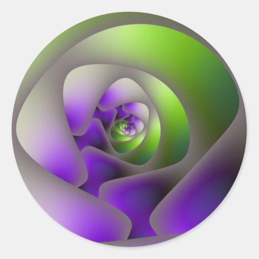 Laberinto espiral en pegatina verde y púrpura
