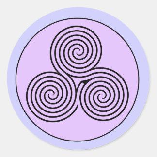 Laberinto espiral triple pegatina redonda