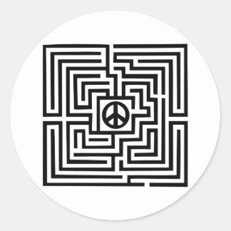 Laberinto - paz pegatina redonda