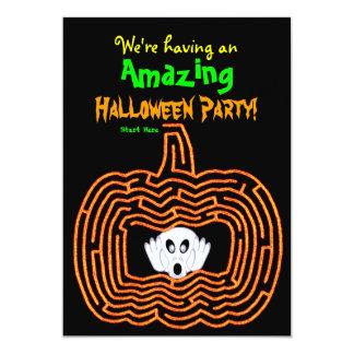 """Laberinto y fantasma de la calabaza de Halloween Invitación 5"""" X 7"""""""