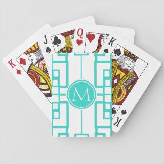 Laberinto y monograma de la turquesa cartas de juego