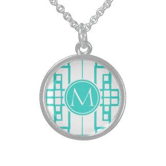 Laberinto y monograma de la turquesa collares de plata esterlina