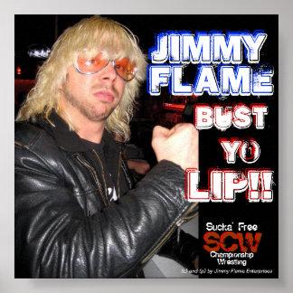 ¡Labio del yo del busto de la llama de Jimmy! Póster