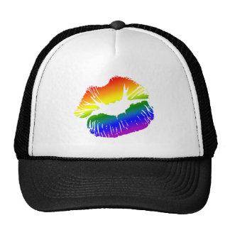Labios 1 del arco iris gorros bordados