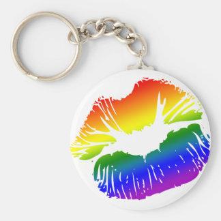 Labios 1 del arco iris llavero redondo tipo pin