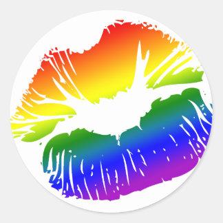 Labios 1 del arco iris etiqueta redonda