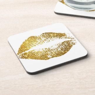 Labios #2 del brillo del oro posavasos