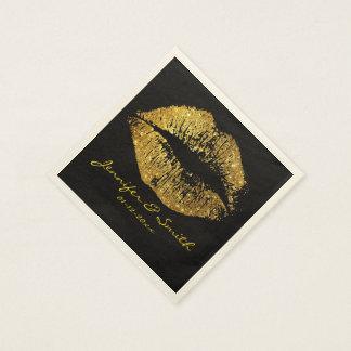 Labios #2 del brillo del oro servilleta desechable