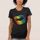 Labios 3 del arco iris camisetas