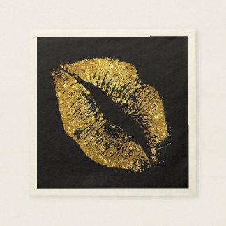 Labios #3 del brillo del oro servilleta desechable
