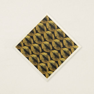 Labios #4 del brillo del oro servilleta de papel
