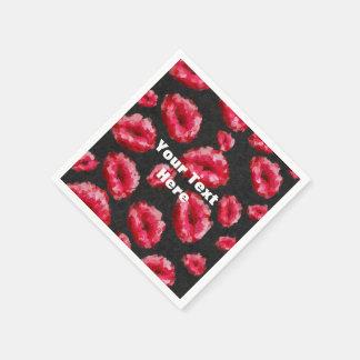 Labios abstractos rojos brillantes servilleta de papel
