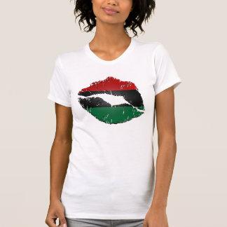 Labios afroamericanos de la bandera playera