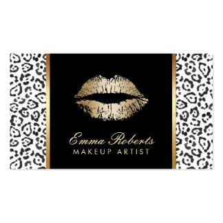 Labios blancos negros modernos del oro del tarjetas de visita