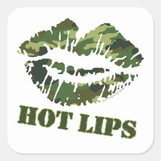 Labios calientes del PURÉ Pegatinas Cuadradases Personalizadas