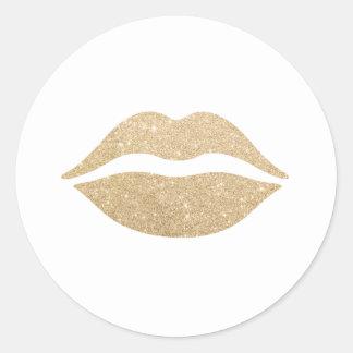 labios claros elegantes del brillo del oro pegatina redonda