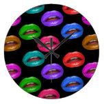 Labios coloridos intrépidos del lápiz labial de Po Reloj De Pared