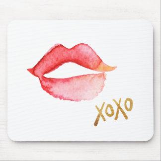 Labios de la acuarela y hoja de oro XOXO Mouse Pads