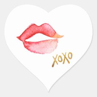 Labios de la acuarela y hoja de oro XOXO Pegatina En Forma De Corazón