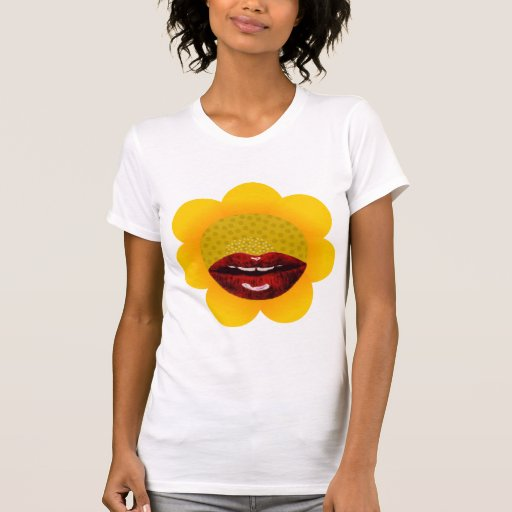 labios de la flor del sol camiseta