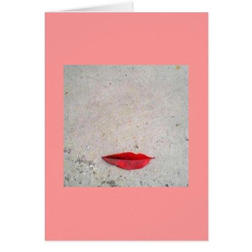 Labios de la hoja en la tarjeta de la tarjeta del