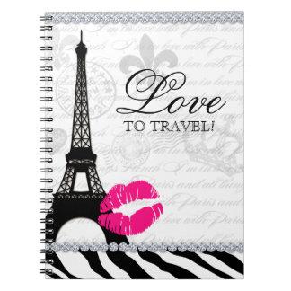 Labios de la torre Eiffel del diario del viaje de  Spiral Notebooks