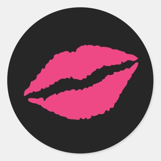 Labios del amor pegatina redonda