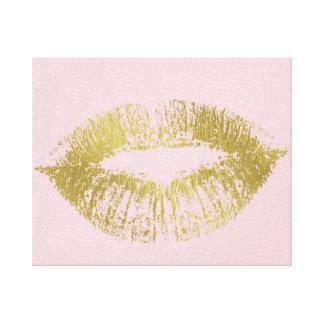 Labios del beso del oro impresión en lona estirada