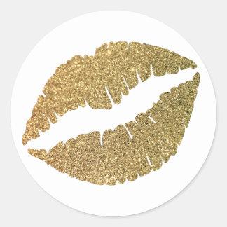 Labios del brillo del oro pegatina redonda