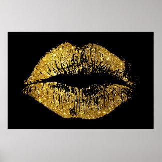 Labios del brillo del oro póster
